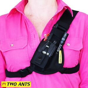 Radio Pouch Chest Harness Holder UHF - Left - Two Ants Worker CT000SLBK