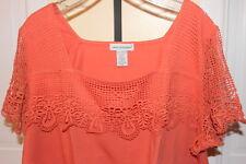 Ladies NIP Jessica London Cotton Blouse Plus Size 26/28 Lace Trim