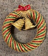 "Vintage Christmas 11"" Wreath Bells Woven Straw Red Green Yarn Handcrafted Reed"