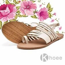 Khoee Olivia Women's Korean Flat Sandals (Beige)  SIZE 37