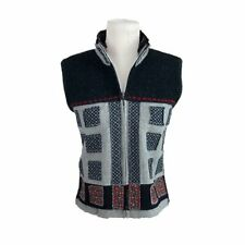 Tricot Chic 8 Medium Vest Full Zip High Neck Wool Blend Patchwork Made In Italy