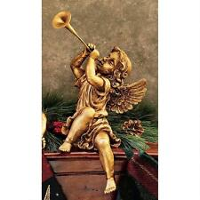 Set: Italian Baroque Style Trumpeting Boy & Girl Cherub Christmas Angel Putti