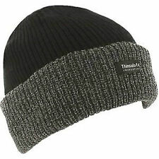 1 x  Mens Thinsulate Lined Insulated Winter Ski Beanie Hat Black Ribbed Chunky