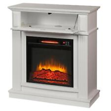 White Infrared Electric Fireplace Heater Mantel TV Stand Media Cent LED Flame