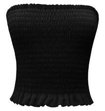 Ladies Sheering Boobtube Bralet Gather Bandeau Vest Crop Tops 8-14 Black 8-10