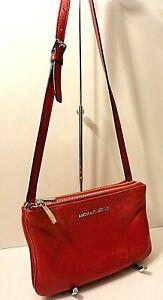 Michael Kors Red Genuine Leather Crossbody Shoulder Purse Bag Card Slots