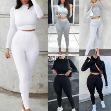 ❤️ 2Pcs Womens Tracksuit Crop Top Pants Set Casual Slim Fit Yoga Gym Sports Suit