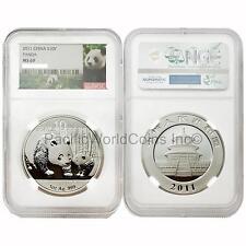 China 2011 Panda 10 Yuan 1 oz Silver NGC MS69