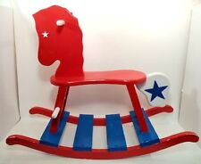 Hand Crafted All American Rocking Horse USA Red White & Blue NICE!!!