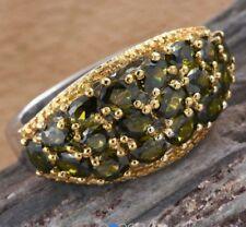 Green CZ Cluster Ring - ION Plated 18k YG/Platinum Bond Brass - Sz 6