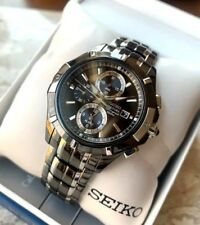 Seiko Coutura Chronograph Men's Watch SNAE57 Black Silver Tone Stainless Steel 1