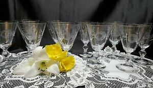 Antique Crystal Elegant Etched Rose Wine / Water Stemmed Glasses - Set of 10