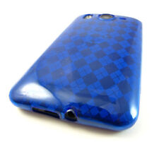 For HTC Inspire 4G Hard TPU FLEXI Candy Skin Snap on Phone Case Blue Plaid