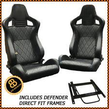 DEFENDER 90 110 BB6 Reclining Bucket Seats Cross Stitch/Alcantara + Fitting Kit