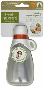 Infantino Fresh Squeezed Reusable Pouch Baby Homemade Food Puree Travel Feeder
