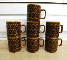 More details for vintage set of 7 hornsea heirloom brown retro 1970s mugs vgc (mar)