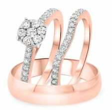 14K Rose Gold Finish His And Hers Diamond Engagement Band Wedding Trio Ring Set