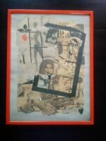 Collage tableau 1984 signé Pologne Solidarnosc collage journaux Nicolas Vial