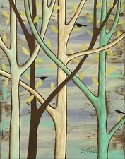 Forest Birds 11 x 14 x 3/4 ORIGINAL CANVAS PAINTING FOLK ART PRIM Karla Gerard