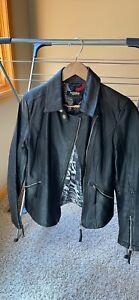Twiggy Of London Black Leather Biker Jacket, Womens Small