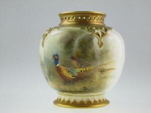 Antique Royal Worcester Porcelain Vase Circa 1918 Signed By Stinton