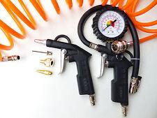 Druckluft Set 6tlg Reifenfüller Ausblaspistole Spiralschlauch 5m Adapterset