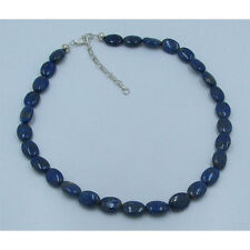 .925 Sterling Silver Natural Blue Lapis Lazuli 10 by 14mm Oval Bead Necklace