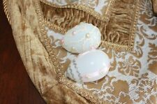 """Two Vintage Blown Milk Glass Easter Eggs 2 3/4"""" Tall Hand Decorated Pink & White"""