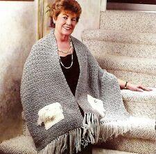 COZY Pocket Shawl/Apparel/ Crochet Pattern INSTRUCTIONS ONLY