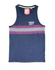 Superdry Mens Shirt Blue Size Medium M Stacked Striped Logo Tank Top $29 #283