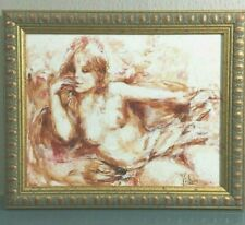 Hand painted Original Mary Vickers Nude Portrait Oil Painting Canvas b1940  #664