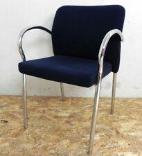 sedia poltroncina fissa da ufficio sala attesa scrivania in tessuto blu poltrona
