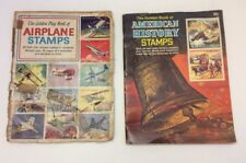 2 GOLDEN BOOK LOT - VINTAGE AIRPLANE STAMPS & AMERICAN HISTORY STAMPS BOOKS-RARE