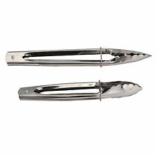 2pc Mini Silver Stainless Steel Metal Kitchen Salad Grill BBQ Tongs Set Utensil