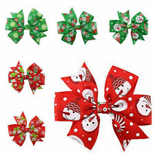 6X 8cm Girl Christmas Holiday Gift Snowflake Ribbon Hair Bows Clip Girl Hairpin