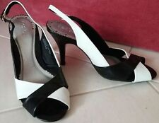 BLACK & WHITE Slingback PEEP TOE SHOES with a 10cm Heel...Size 9...New Item