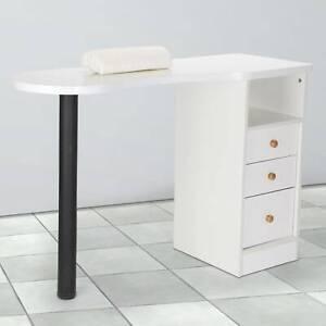 Professional Manicure Table Portable Nail Station Desk  Drawers Spa Salon White