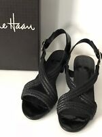 COLE HAAN Black Braided Leather Low Wedge Sandals Size 7B