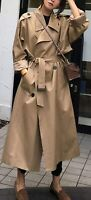 Women's Chic Notched Collar Double-Breast Midi Long Trench Coat with Belt / S