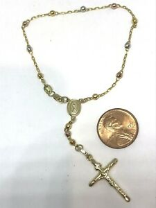 """GOLD Rosary Bracelet rosario Guadalupe Mary jesus cross disco ball Tri 3mm 7.5"""""""