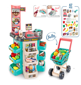 Kids Role Play Set Supermarket Shopping Trolley cart Pretend Toy Xmas Gift