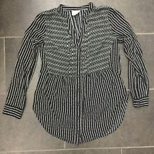 Maeve Anthropologie Women's Size X Tunic Top - Black Pattern Long Button Up