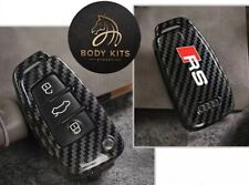 Audi RS Logo Carbon Fiber Style Key Cover For A3 S3 RS3 Q2 Q3 RSQ3