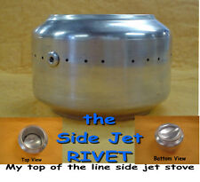 Backpacking Alcohol Stove/ 'RIVET' Side Jet  Alcohol Stove w/integral Pot Stand
