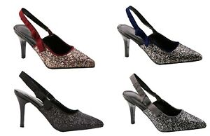 Womens Glitter & Sparkle Mid Heels Pointy Slip-on Slingback Shoes CHOOSE COLOUR