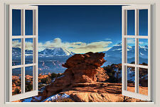 Canyon Mountains Window View Repositionable Color Wall Sticker Mural 3 FT