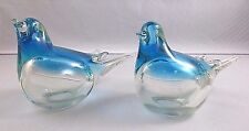 Pair Blue and Clear Glass Bird Figurines or Paperweights