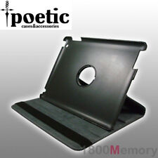 Poetic Swivel Book Leather Folio Case Stand for Apple iPad 4 3 2 Black/Blue Trim