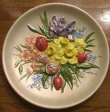 Vtg Daffodil Bluebell Wall Hanging Plate Yellow Flower Spring Ceramic Plaque