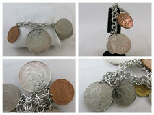 VINTAGE DANECRAFT STERLING SILVER CHARM BRACELET WITH MEXICAN COINS
